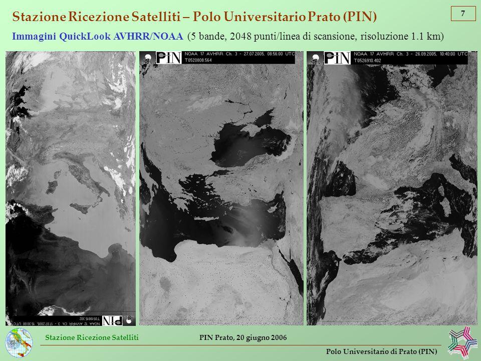 Stazione Ricezione Satelliti 18 Polo Universitario di Prato (PIN) PIN Prato, 20 giugno 2006 Analisi di immagini di telerilevamento ambientale presso la Stazione Ricezione Satelliti (PIN) Calcolo dellindice (adimensionale) di vegetazioneMERIS Terrestrial Chlorophyll Index (MTCI) che valuta la quantità di clorofilla e lo stato di salute della vegetazione Sensore MERIS: radiometro passivo con 15 bande nel visibile (risoluzione a terra 250 m) Elaborazione dati MERIS/ENVISAT