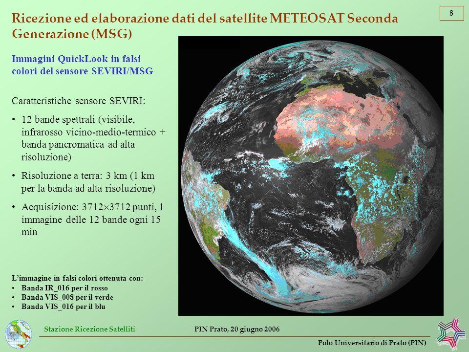 Stazione Ricezione Satelliti 9 Polo Universitario di Prato (PIN) PIN Prato, 20 giugno 2006 Elaborazione dati del sensore SSM/I (satelliti DMSP) Esempio di rilevamento della velocità del vento su mare in [m s –1 ] Sensore a microonde SSM/I (satelliti DMSP) Caratteristiche sensore SSM/I: 7 bande spettrali: 19.4 GHz (pol.