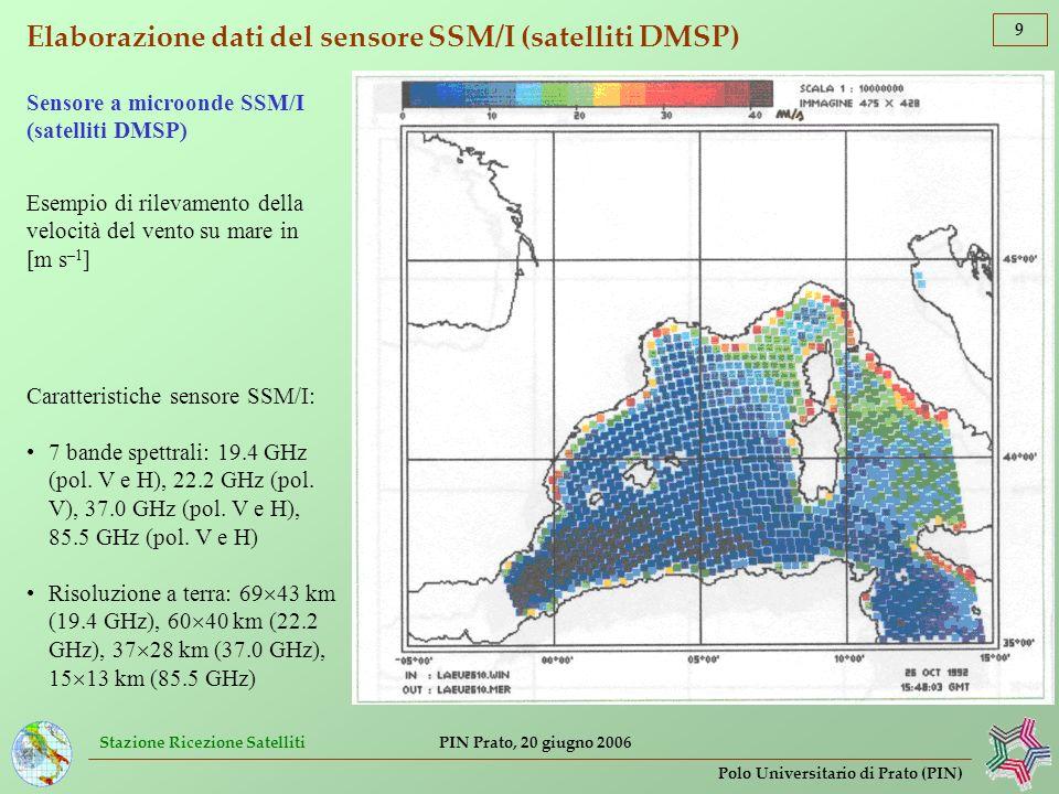 Stazione Ricezione Satelliti 9 Polo Universitario di Prato (PIN) PIN Prato, 20 giugno 2006 Elaborazione dati del sensore SSM/I (satelliti DMSP) Esempi