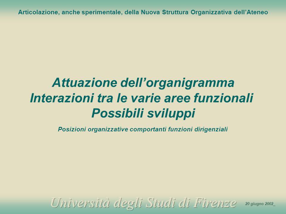 1 Articolazione, anche sperimentale, della Nuova Struttura Organizzativa dellAteneo Attuazione dellorganigramma Interazioni tra le varie aree funziona