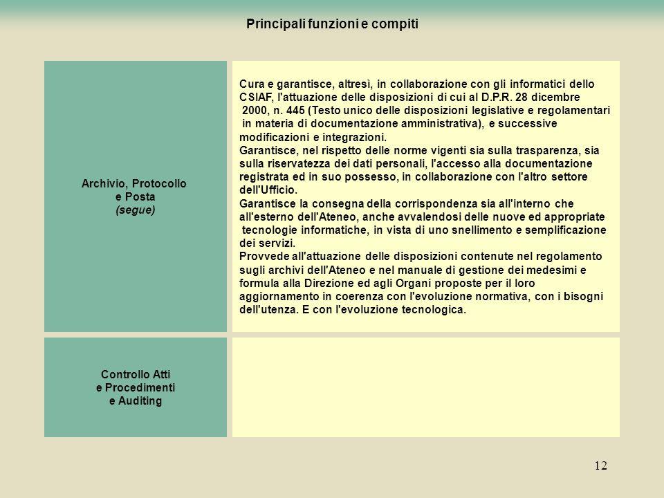 12 Archivio, Protocollo e Posta (segue) Cura e garantisce, altresì, in collaborazione con gli informatici dello CSIAF, l'attuazione delle disposizioni