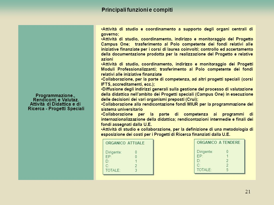 21 Principali funzioni e compiti Programmazione., Rendicont. e Valutaz. Attività di Didattica e di Ricerca - Progetti Speciali Attività di studio e co