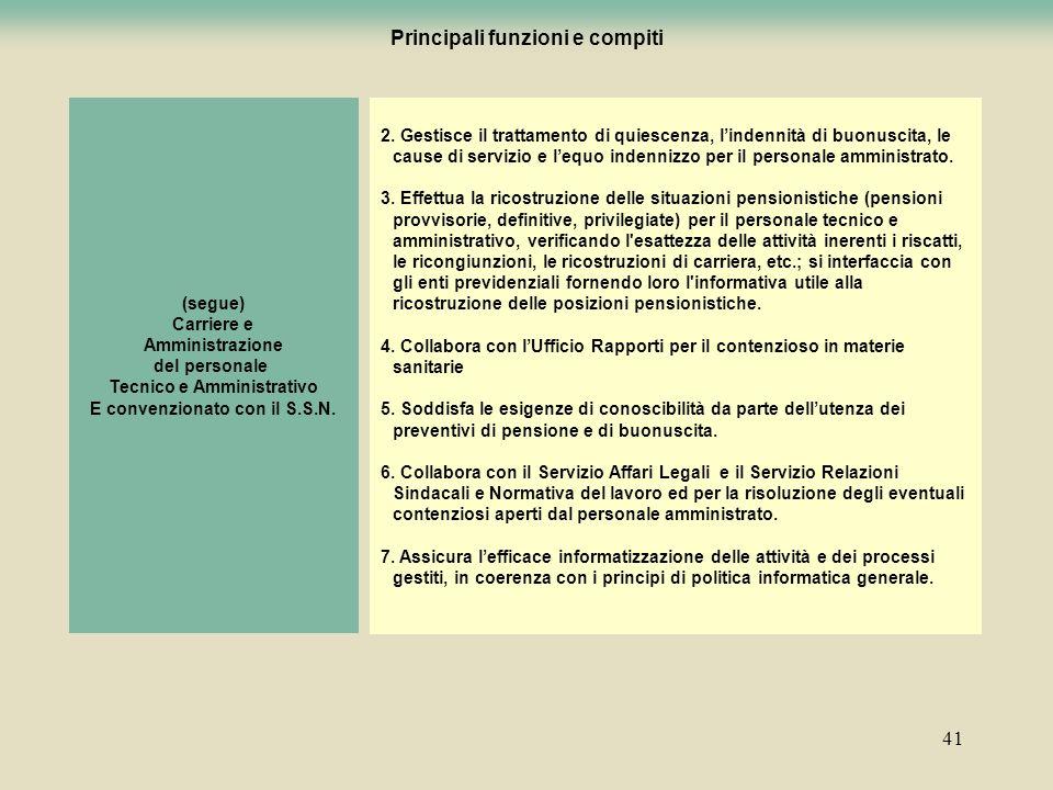 41 (segue) Carriere e Amministrazione del personale Tecnico e Amministrativo E convenzionato con il S.S.N. 2. Gestisce il trattamento di quiescenza, l