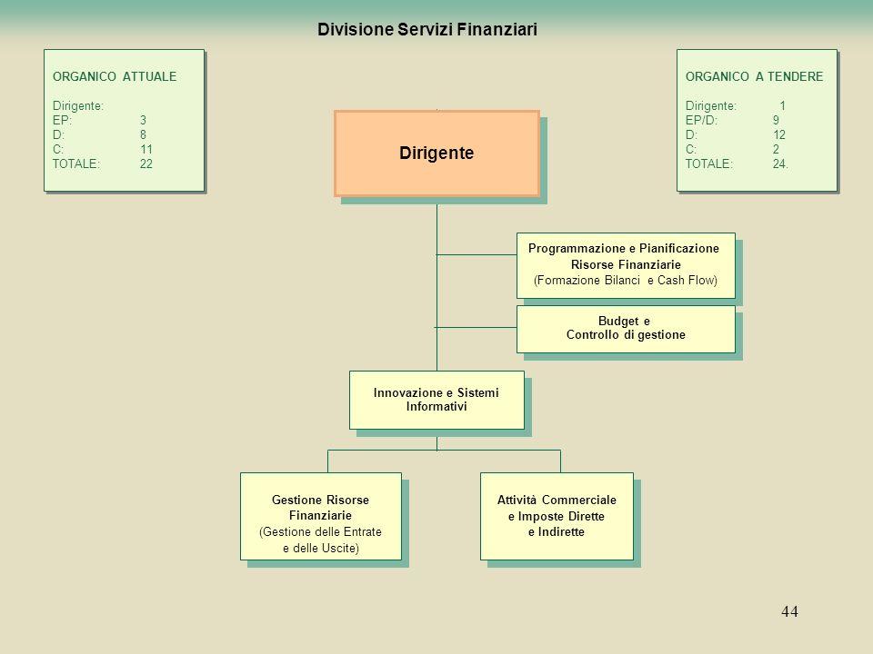 44 Divisione Servizi Finanziari Programmazione e Pianificazione Risorse Finanziarie (Formazione Bilanci e Cash Flow) Programmazione e Pianificazione R