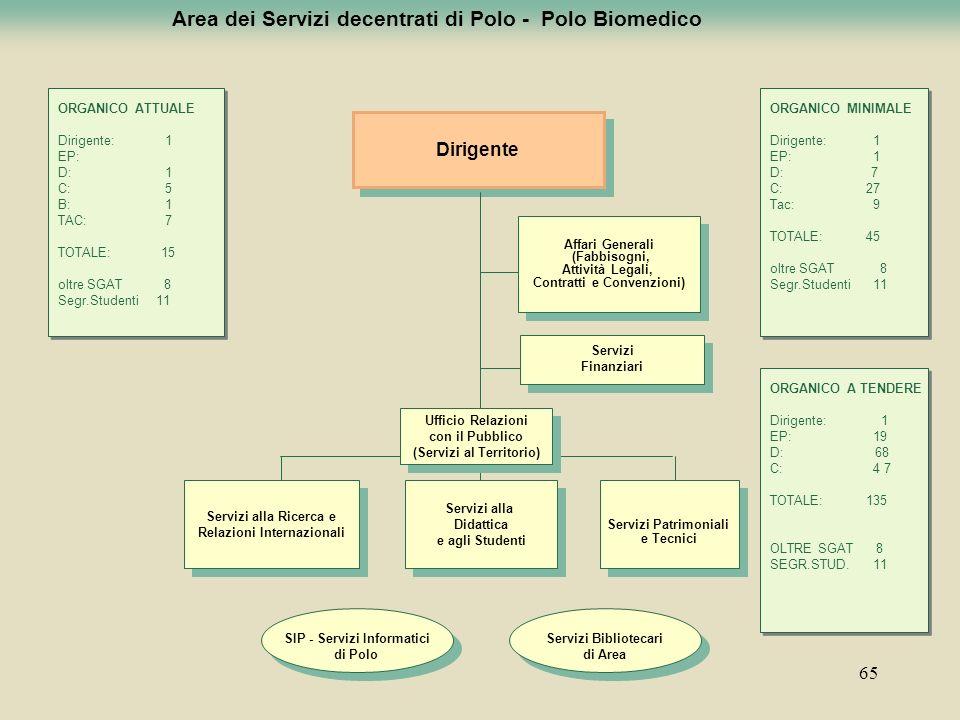 65 Area dei Servizi decentrati di Polo - Polo Biomedico Dirigente Servizi alla Didattica e agli Studenti Servizi alla Didattica e agli Studenti Serviz