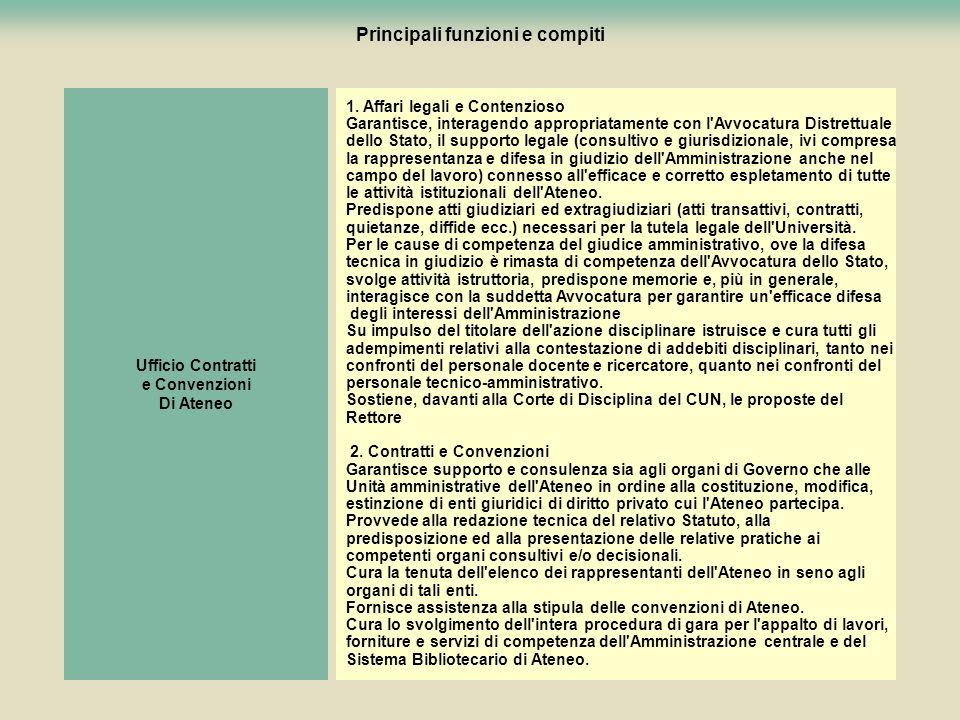 8 Ufficio Contratti e Convenzioni Di Ateneo 1. Affari legali e Contenzioso Garantisce, interagendo appropriatamente con l'Avvocatura Distrettuale dell