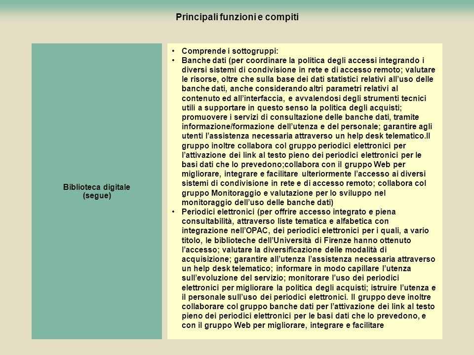 86 Principali funzioni e compiti Comprende i sottogruppi: Banche dati (per coordinare la politica degli accessi integrando i diversi sistemi di condiv