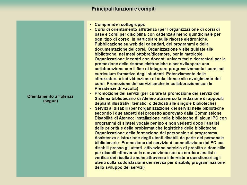 89 Principali funzioni e compiti Comprende i sottogruppi: Corsi di orientamento allutenza (per lorganizzazione di corsi di base e corsi per disciplina