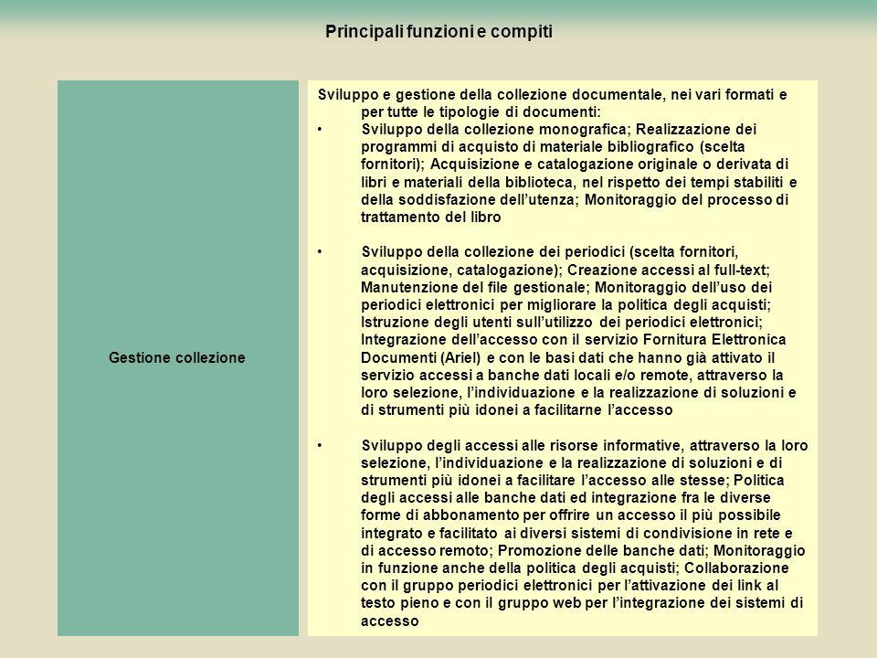 97 Principali funzioni e compiti Sviluppo e gestione della collezione documentale, nei vari formati e per tutte le tipologie di documenti: Sviluppo de