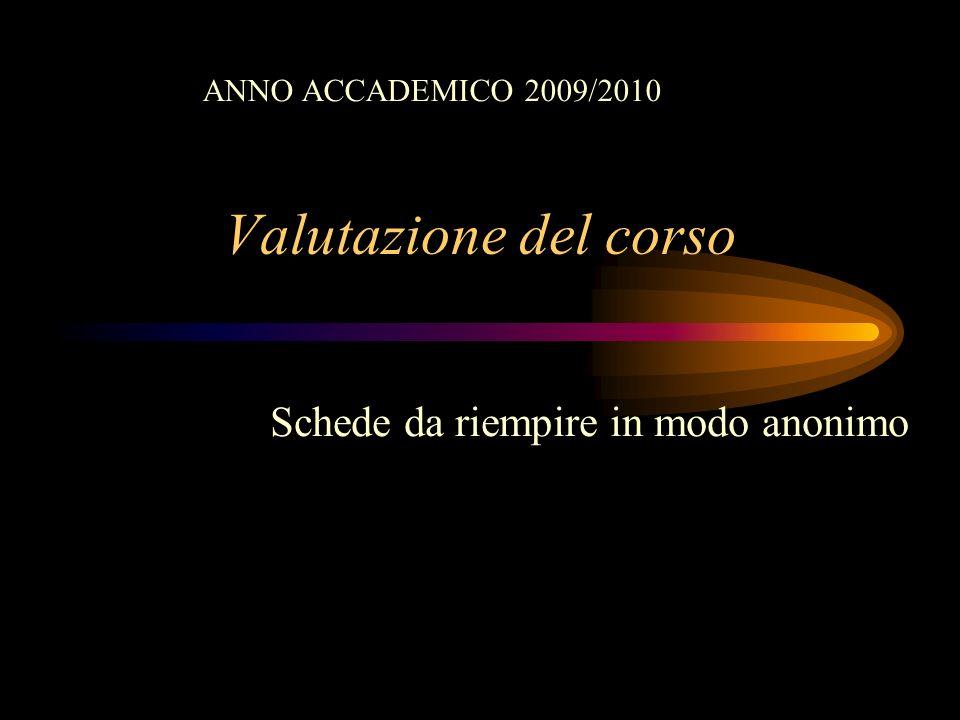 Valutazione del corso Schede da riempire in modo anonimo ANNO ACCADEMICO 2009/2010