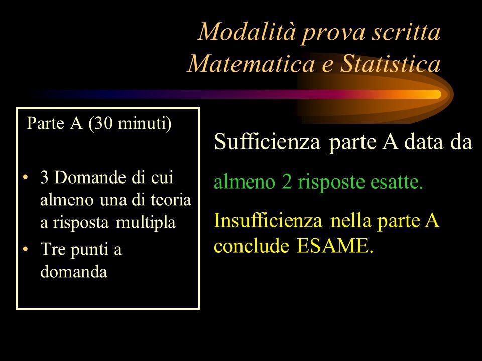 Modalità prova scritta Matematica e Statistica Parte A (30 minuti) 3 Domande di cui almeno una di teoria a risposta multipla Tre punti a domanda Suffi
