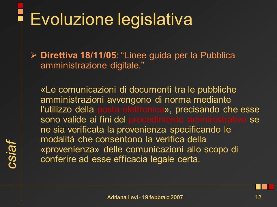 csiaf Adriana Levi - 19 febbraio 200712 Evoluzione legislativa Direttiva 18/11/05: Linee guida per la Pubblica amministrazione digitale. «Le comunicaz