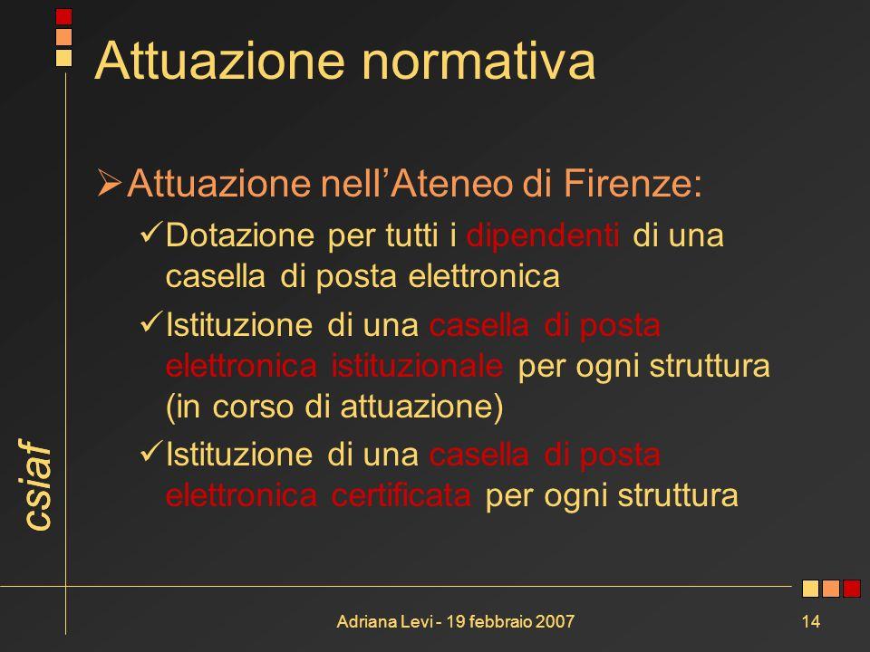 csiaf Adriana Levi - 19 febbraio 200714 Attuazione normativa Attuazione nellAteneo di Firenze: Dotazione per tutti i dipendenti di una casella di post