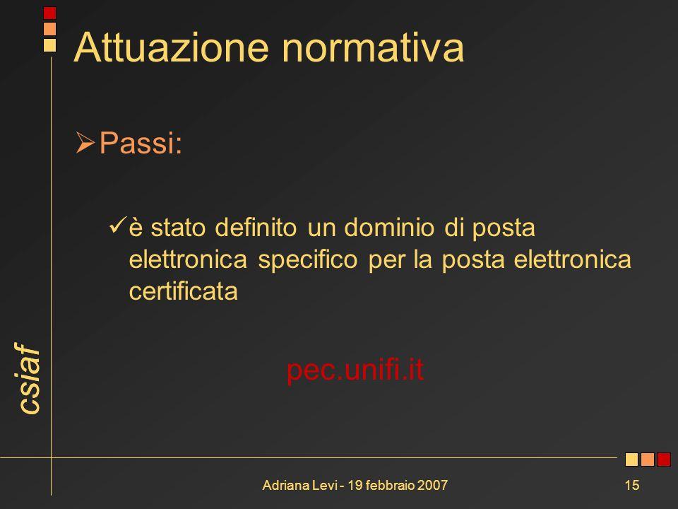 csiaf Adriana Levi - 19 febbraio 200715 Attuazione normativa Passi: è stato definito un dominio di posta elettronica specifico per la posta elettronic