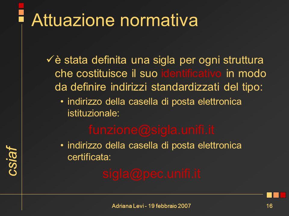 csiaf Adriana Levi - 19 febbraio 200716 Attuazione normativa è stata definita una sigla per ogni struttura che costituisce il suo identificativo in mo