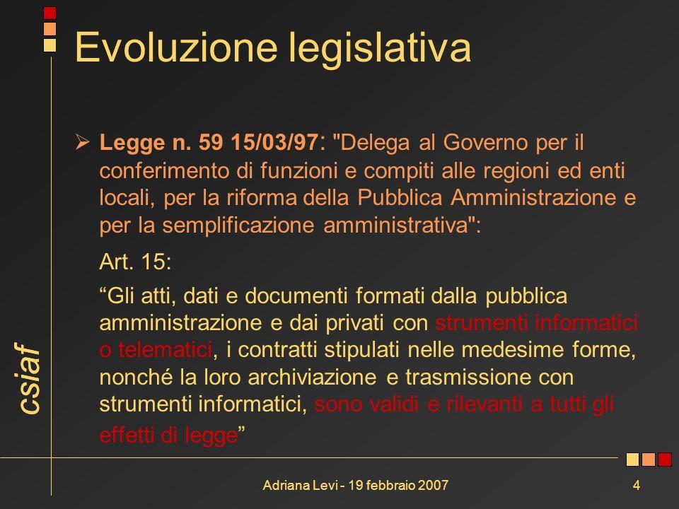 csiaf Adriana Levi - 19 febbraio 20074 Evoluzione legislativa Legge n. 59 15/03/97 :