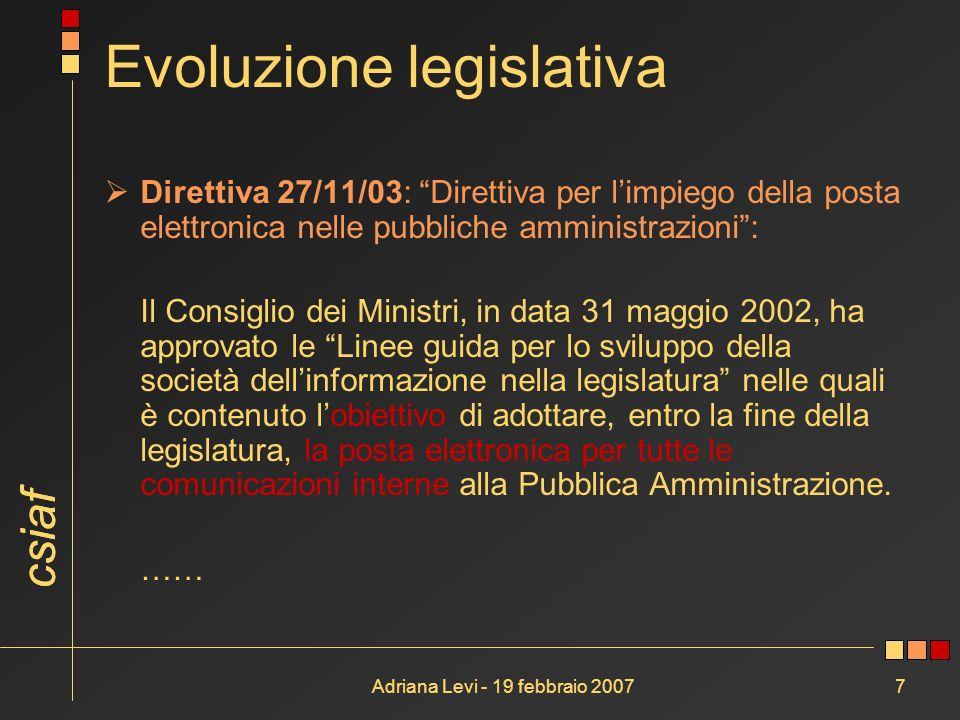 csiaf Adriana Levi - 19 febbraio 20077 Evoluzione legislativa Direttiva 27/11/03: Direttiva per limpiego della posta elettronica nelle pubbliche ammin