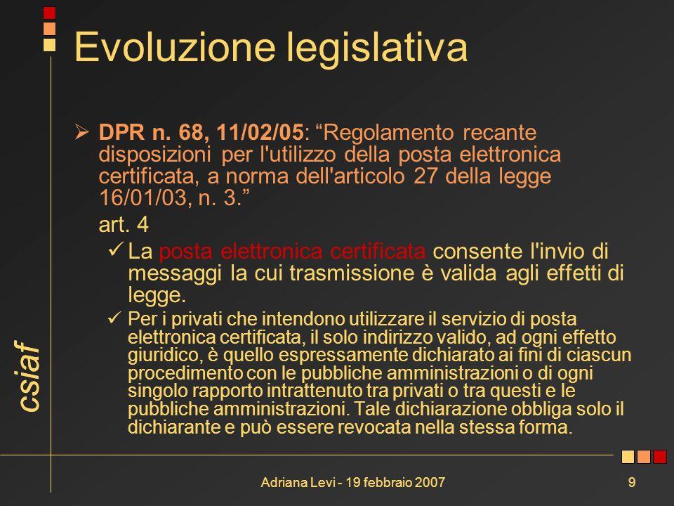 csiaf Adriana Levi - 19 febbraio 20079 Evoluzione legislativa DPR n. 68, 11/02/05: Regolamento recante disposizioni per l'utilizzo della posta elettro