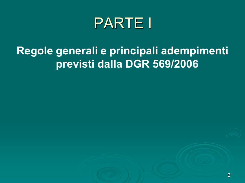 2 PARTE I Regole generali e principali adempimenti previsti dalla DGR 569/2006