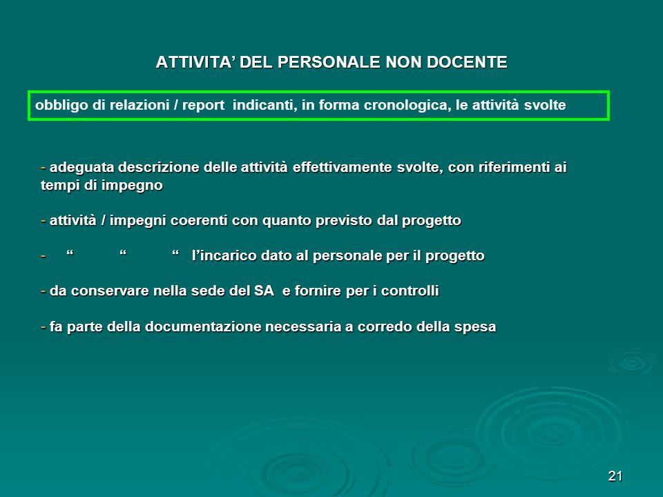 21 ATTIVITA DEL PERSONALE NON DOCENTE obbligo di relazioni / report indicanti, in forma cronologica, le attività svolte - adeguata descrizione delle a