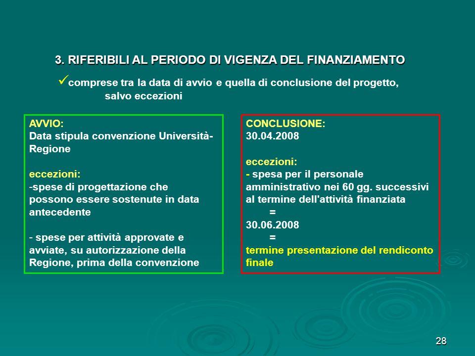 28 AVVIO: Data stipula convenzione Università- Regione eccezioni: -spese di progettazione che possono essere sostenute in data antecedente - spese per