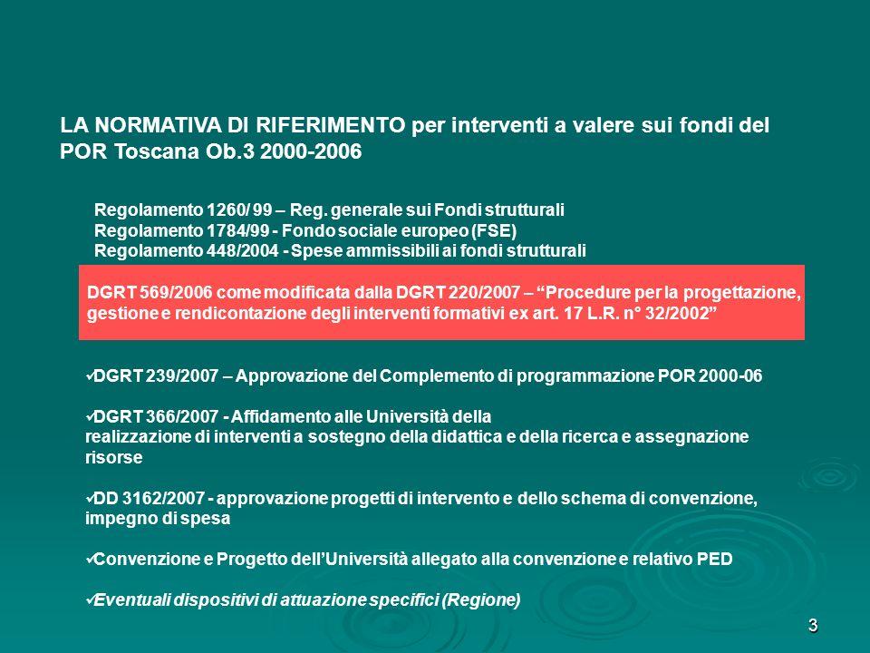 3 LA NORMATIVA DI RIFERIMENTO per interventi a valere sui fondi del POR Toscana Ob.3 2000-2006 DGRT 239/2007 – Approvazione del Complemento di program