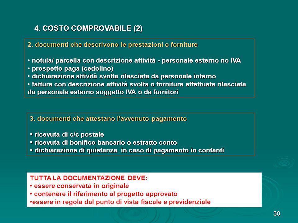 30 4. COSTO COMPROVABILE (2) 4. COSTO COMPROVABILE (2) 3. documenti che attestano l'avvenuto pagamento ricevuta di c/c postale ricevuta di c/c postale