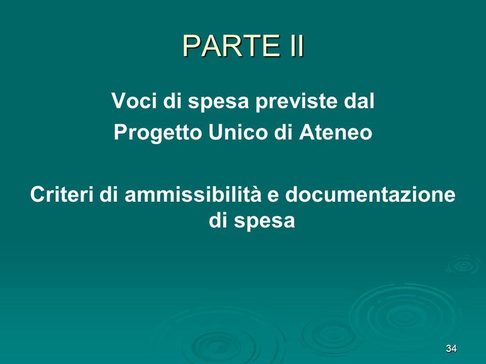 34 PARTE II Voci di spesa previste dal Progetto Unico di Ateneo Criteri di ammissibilità e documentazione di spesa