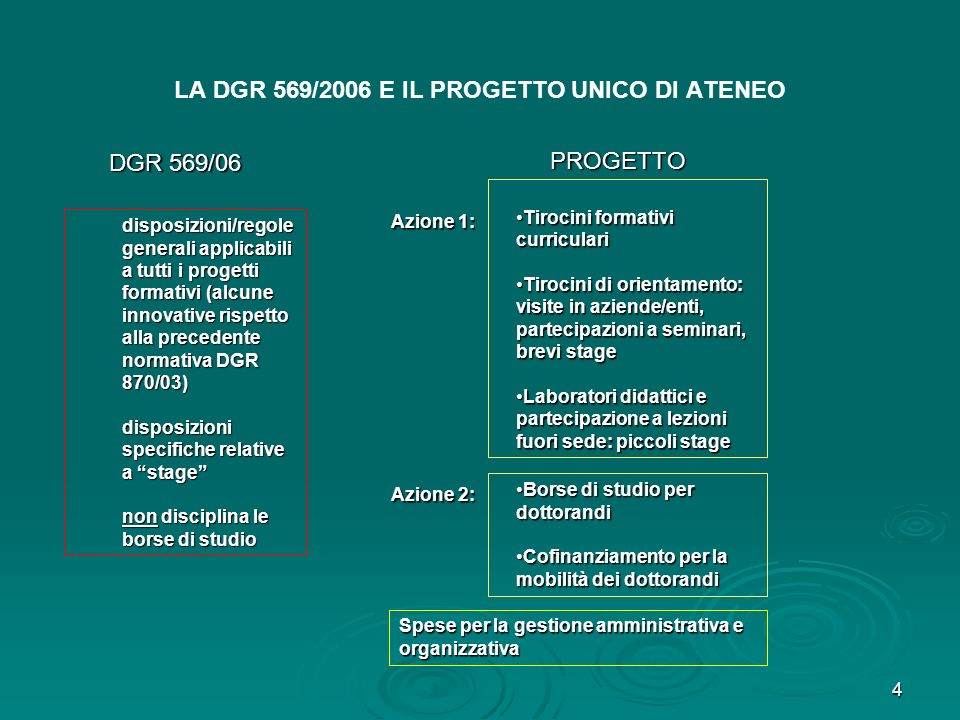 4 LA DGR 569/2006 E IL PROGETTO UNICO DI ATENEO disposizioni/regole generali applicabili a tutti i progetti formativi (alcune innovative rispetto alla