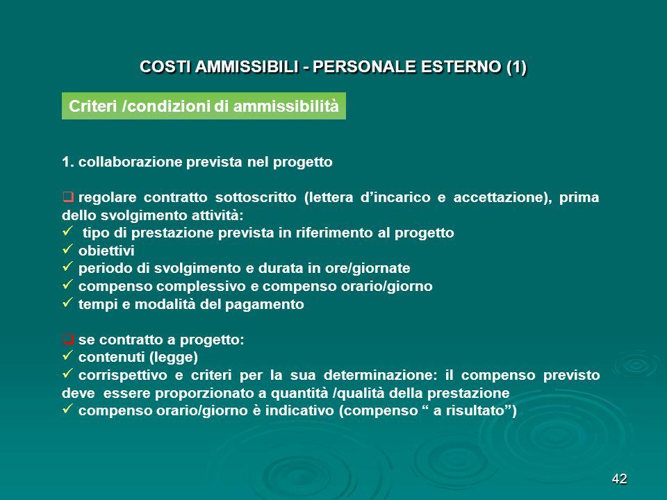 42 COSTI AMMISSIBILI - PERSONALE ESTERNO (1) 1.collaborazione prevista nel progetto regolare contratto sottoscritto (lettera dincarico e accettazione)