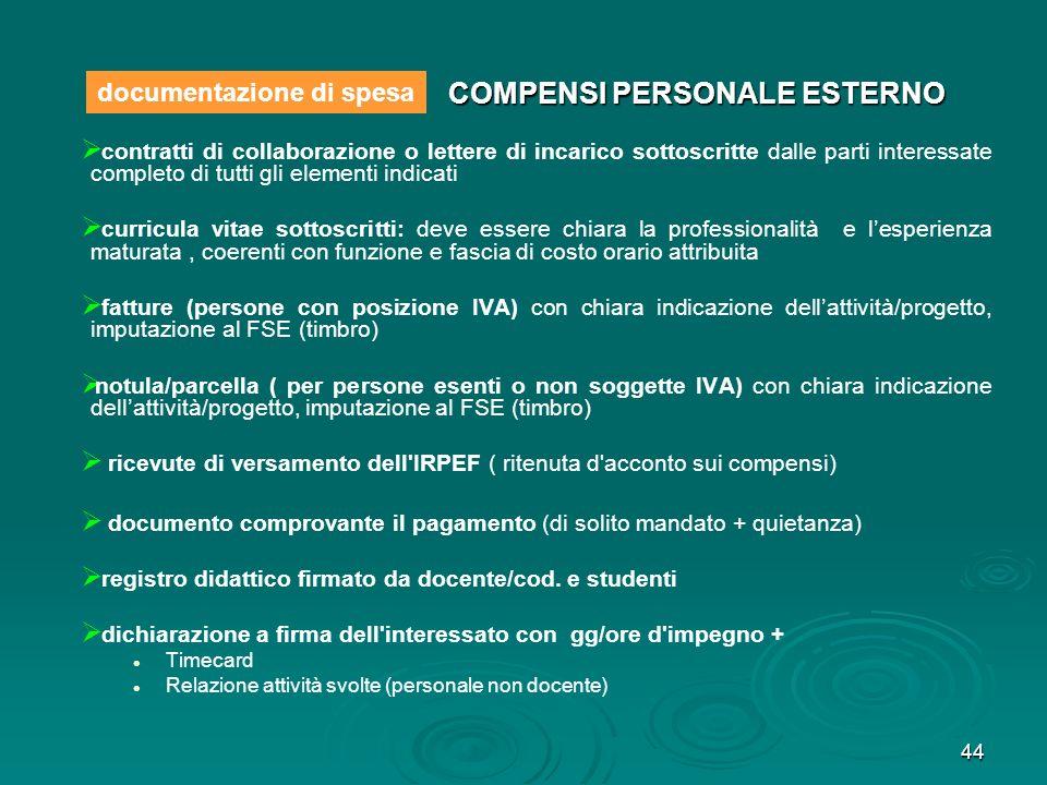44 COMPENSI PERSONALE ESTERNO contratti di collaborazione o lettere di incarico sottoscritte dalle parti interessate completo di tutti gli elementi in