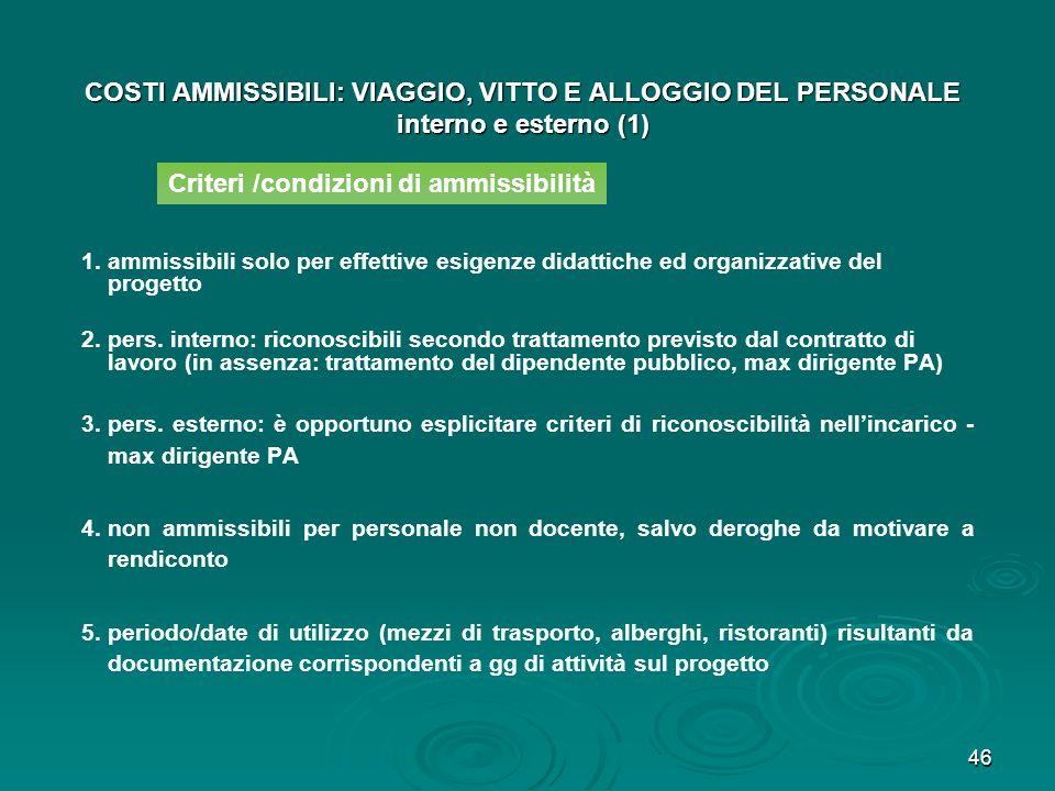 46 COSTI AMMISSIBILI: VIAGGIO, VITTO E ALLOGGIO DEL PERSONALE interno e esterno (1) 1. 1.ammissibili solo per effettive esigenze didattiche ed organiz