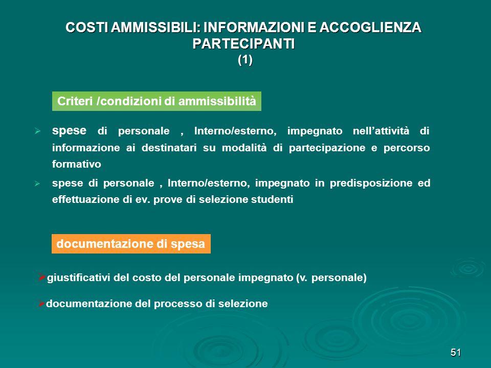 51 COSTI AMMISSIBILI: INFORMAZIONI E ACCOGLIENZA PARTECIPANTI (1) spese di personale, Interno/esterno, impegnato nellattività di informazione ai desti