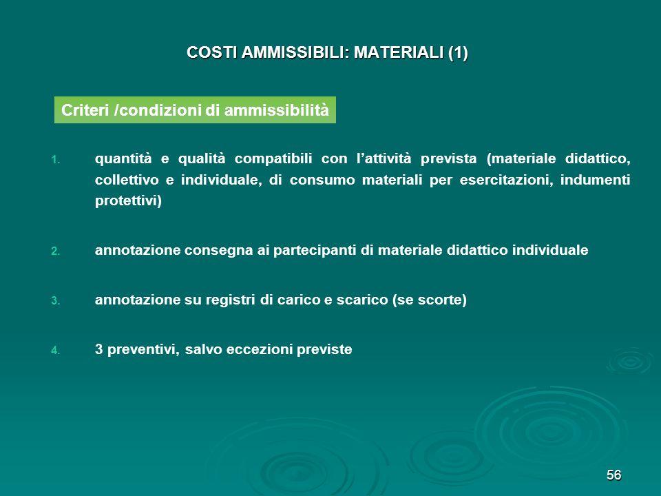 56 COSTI AMMISSIBILI: MATERIALI (1) 1. 1. quantità e qualità compatibili con lattività prevista (materiale didattico, collettivo e individuale, di con