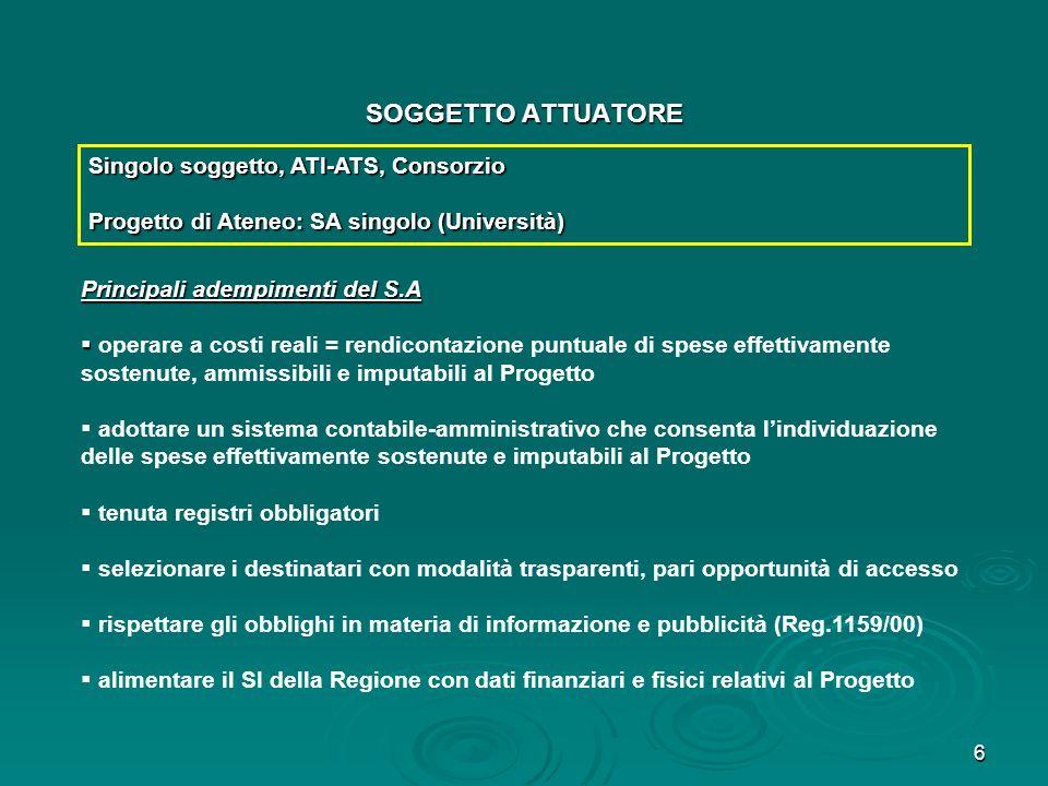 6 SOGGETTO ATTUATORE Singolo soggetto, ATI-ATS, Consorzio Progetto di Ateneo: SA singolo (Università) Principali adempimenti del S.A operare a costi r