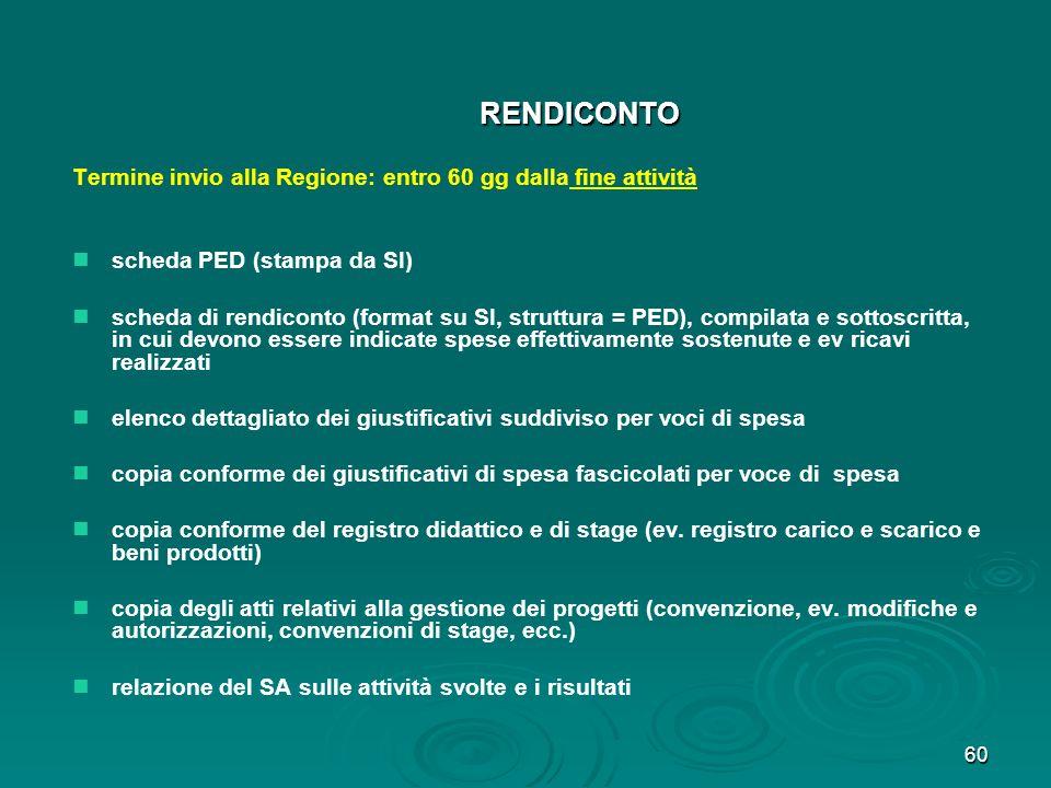 60 RENDICONTO Termine invio alla Regione: entro 60 gg dalla fine attività scheda PED (stampa da SI) scheda di rendiconto (format su SI, struttura = PE