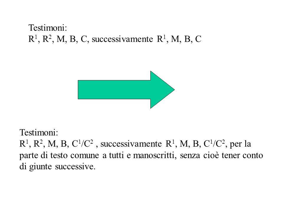 Testimoni: R 1, R 2, M, B, C 1 /C 2, successivamente R 1, M, B, C 1 /C 2, per la parte di testo comune a tutti e manoscritti, senza cioè tener conto d