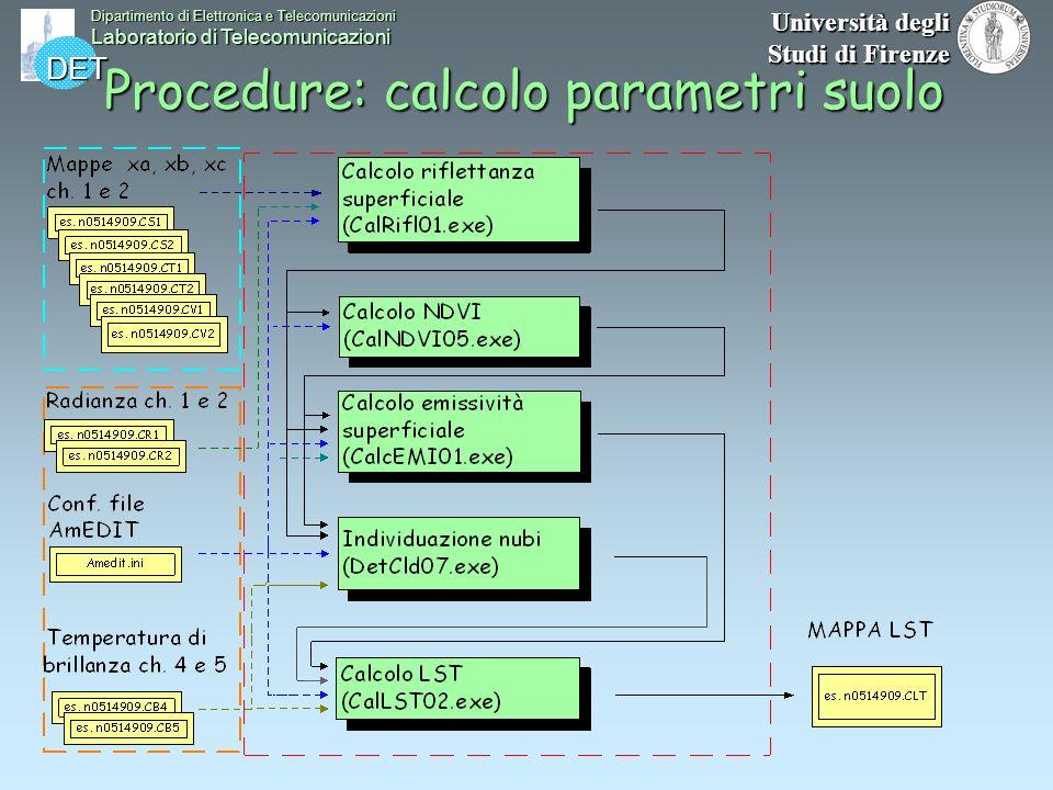 DET Dipartimento di Elettronica e Telecomunicazioni Laboratorio di Telecomunicazioni Università degli Studi di Firenze Procedure: calcolo parametri su