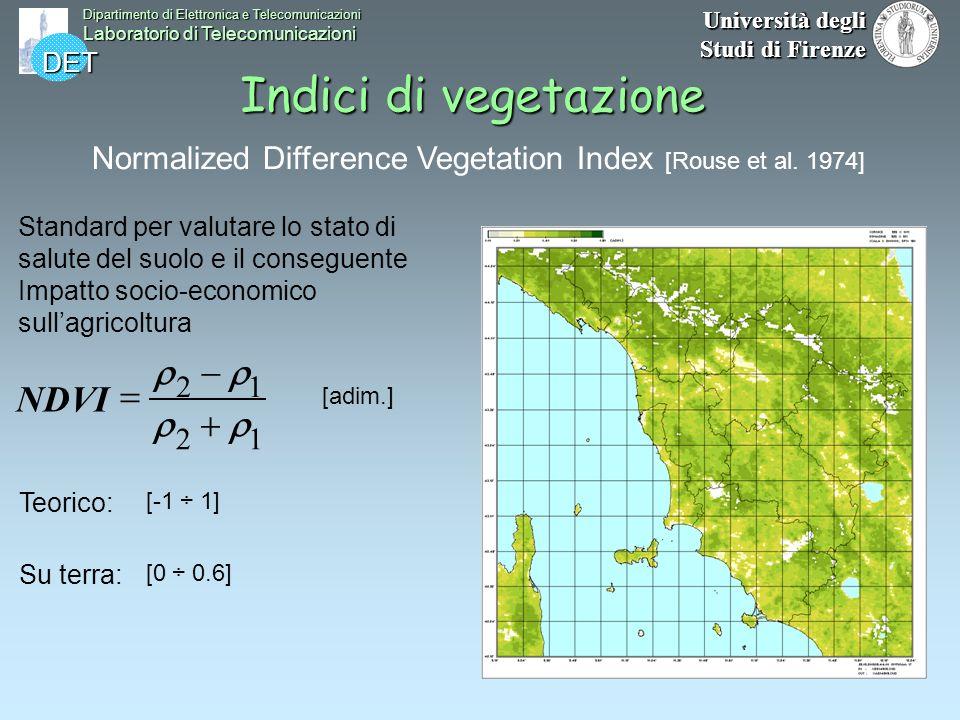 DET Dipartimento di Elettronica e Telecomunicazioni Laboratorio di Telecomunicazioni Università degli Studi di Firenze Indici di vegetazione 12 12 NDV