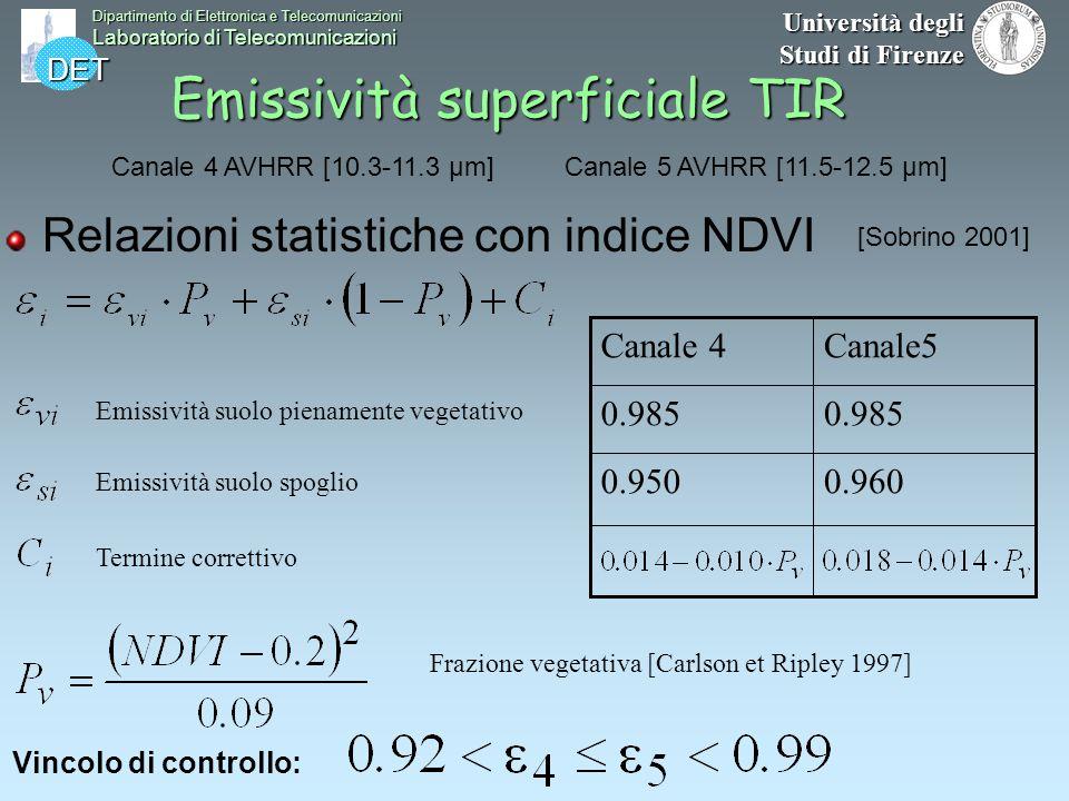 DET Dipartimento di Elettronica e Telecomunicazioni Laboratorio di Telecomunicazioni Università degli Studi di Firenze Relazioni statistiche con indic