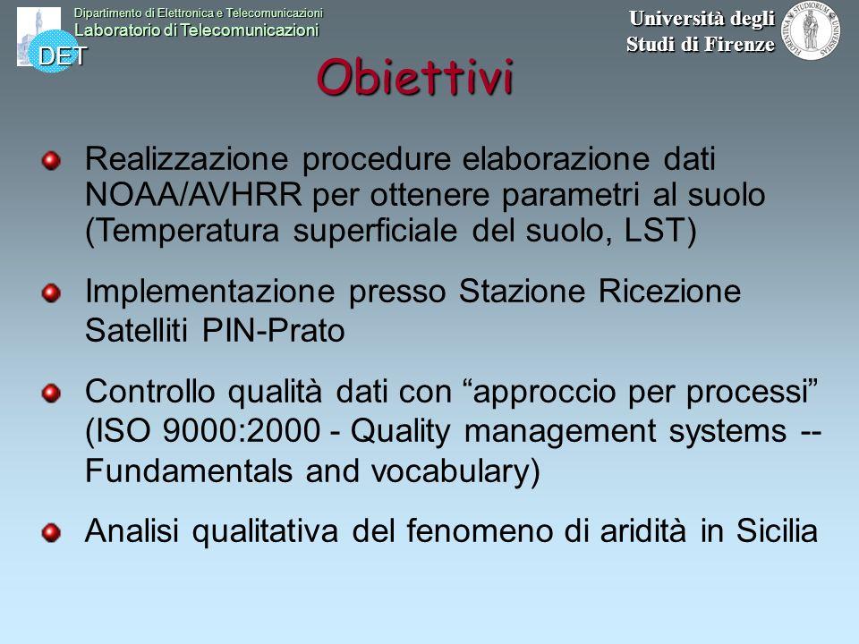 DET Dipartimento di Elettronica e Telecomunicazioni Laboratorio di Telecomunicazioni Università degli Studi di Firenze Obiettivi Realizzazione procedu
