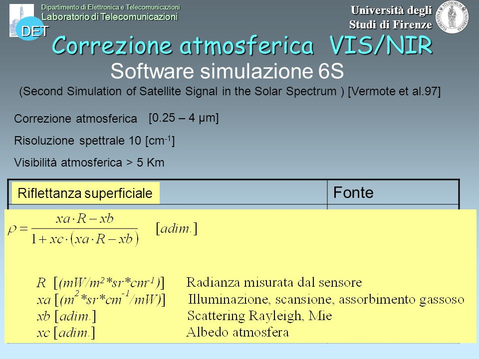 DET Dipartimento di Elettronica e Telecomunicazioni Laboratorio di Telecomunicazioni Università degli Studi di Firenze Correzione atmosferica VIS/NIR