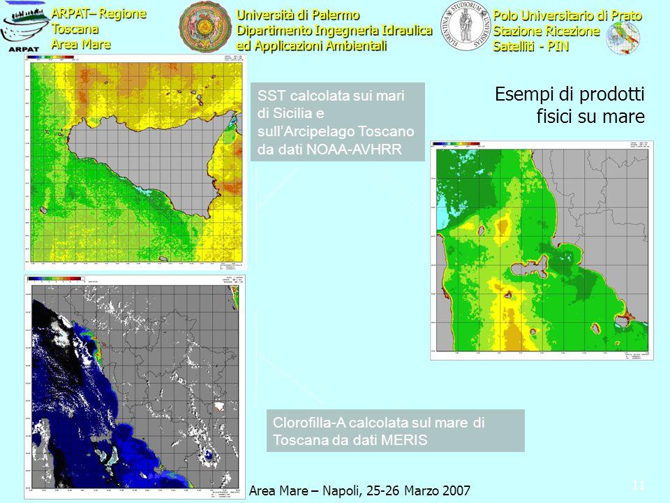 Cluster 10 Area Mare – Napoli, 25-26 Marzo 2007 ARPAT– Regione Toscana Area Mare Polo Universitario di Prato Stazione Ricezione Satelliti - PIN Università di Palermo Dipartimento Ingegneria Idraulica ed Applicazioni Ambientali 11 Esempi di prodotti fisici su mare SST calcolata sui mari di Sicilia e sullArcipelago Toscano da dati NOAA-AVHRR Clorofilla-A calcolata sul mare di Toscana da dati MERIS