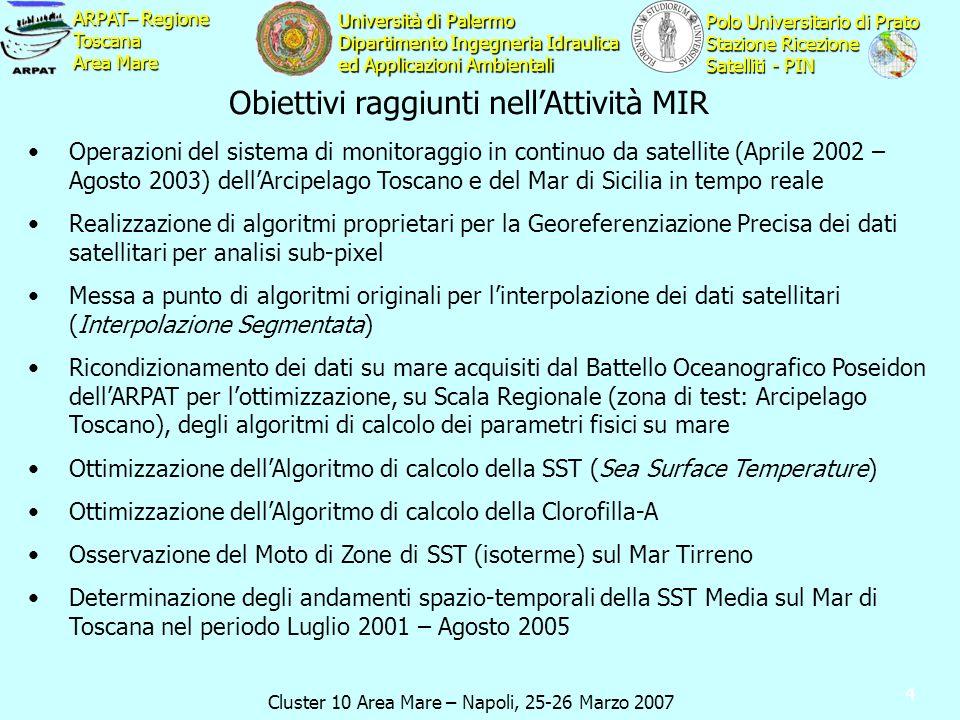 Cluster 10 Area Mare – Napoli, 25-26 Marzo 2007 ARPAT– Regione Toscana Area Mare Polo Universitario di Prato Stazione Ricezione Satelliti - PIN Università di Palermo Dipartimento Ingegneria Idraulica ed Applicazioni Ambientali 4 Obiettivi raggiunti nellAttività MIR Operazioni del sistema di monitoraggio in continuo da satellite (Aprile 2002 – Agosto 2003) dellArcipelago Toscano e del Mar di Sicilia in tempo reale Realizzazione di algoritmi proprietari per la Georeferenziazione Precisa dei dati satellitari per analisi sub-pixel Messa a punto di algoritmi originali per linterpolazione dei dati satellitari (Interpolazione Segmentata) Ricondizionamento dei dati su mare acquisiti dal Battello Oceanografico Poseidon dellARPAT per lottimizzazione, su Scala Regionale (zona di test: Arcipelago Toscano), degli algoritmi di calcolo dei parametri fisici su mare Ottimizzazione dellAlgoritmo di calcolo della SST (Sea Surface Temperature) Ottimizzazione dellAlgoritmo di calcolo della Clorofilla-A Osservazione del Moto di Zone di SST (isoterme) sul Mar Tirreno Determinazione degli andamenti spazio-temporali della SST Media sul Mar di Toscana nel periodo Luglio 2001 – Agosto 2005