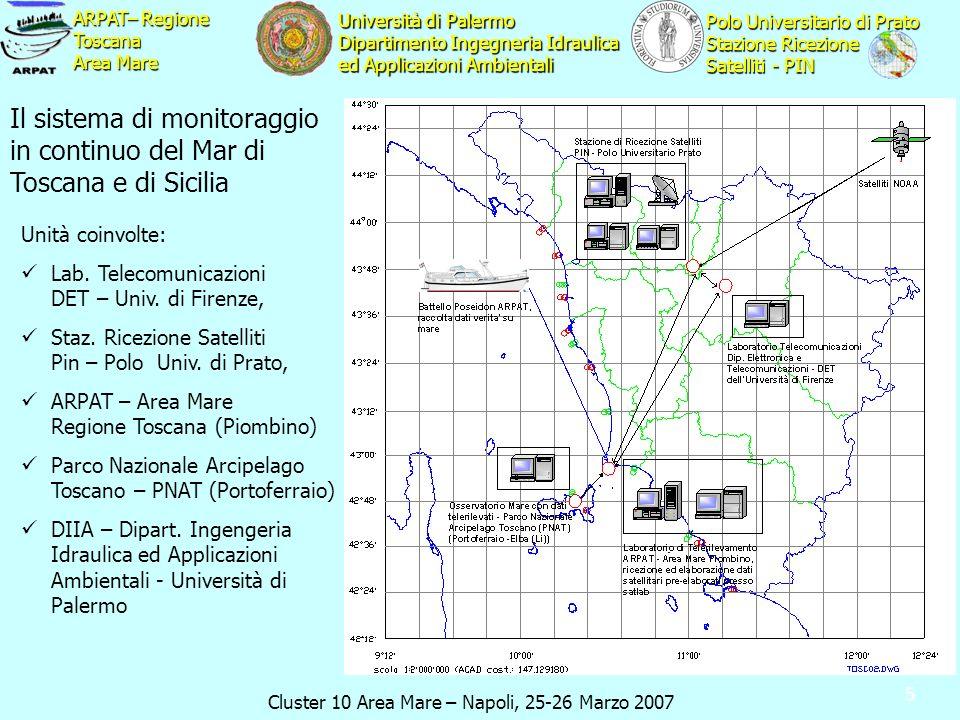 Cluster 10 Area Mare – Napoli, 25-26 Marzo 2007 ARPAT– Regione Toscana Area Mare Polo Universitario di Prato Stazione Ricezione Satelliti - PIN Univer