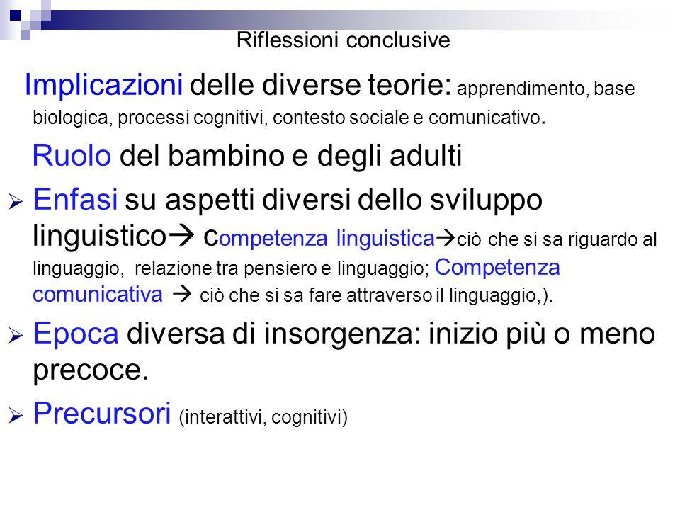 Riflessioni conclusive Implicazioni delle diverse teorie: apprendimento, base biologica, processi cognitivi, contesto sociale e comunicativo. Ruolo de