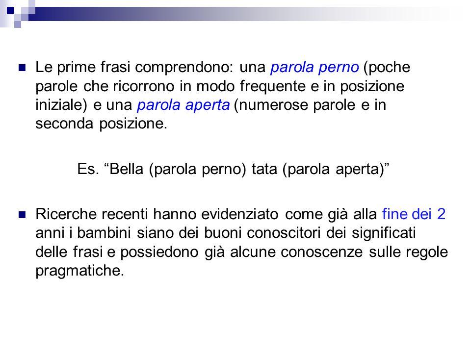 Le prime frasi comprendono: una parola perno (poche parole che ricorrono in modo frequente e in posizione iniziale) e una parola aperta (numerose paro
