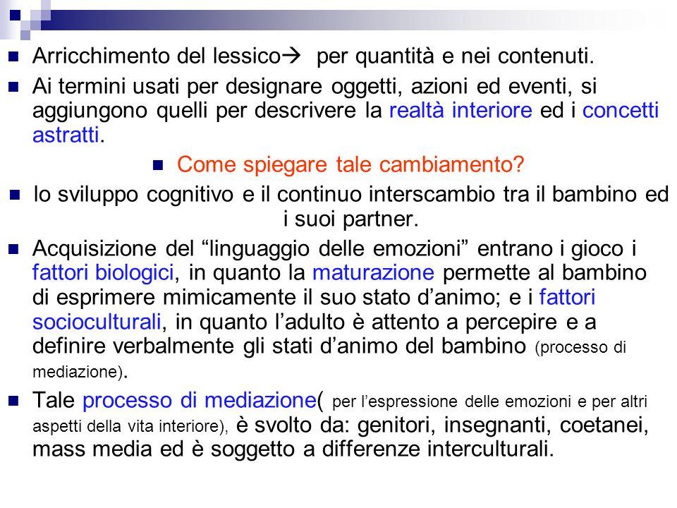 Arricchimento del lessico per quantità e nei contenuti. Ai termini usati per designare oggetti, azioni ed eventi, si aggiungono quelli per descrivere