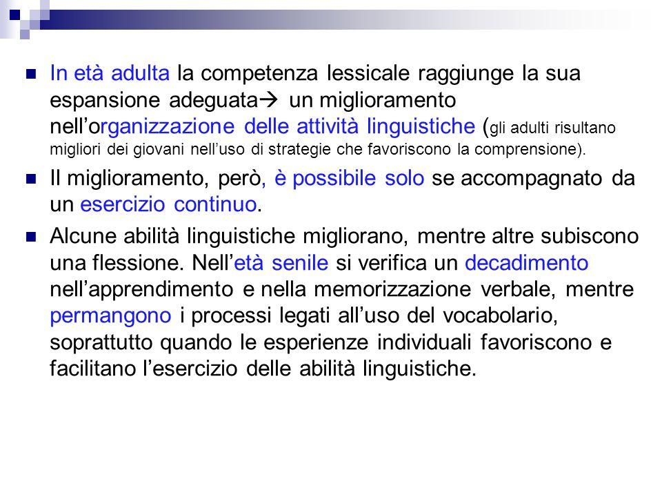 In età adulta la competenza lessicale raggiunge la sua espansione adeguata un miglioramento nellorganizzazione delle attività linguistiche ( gli adult