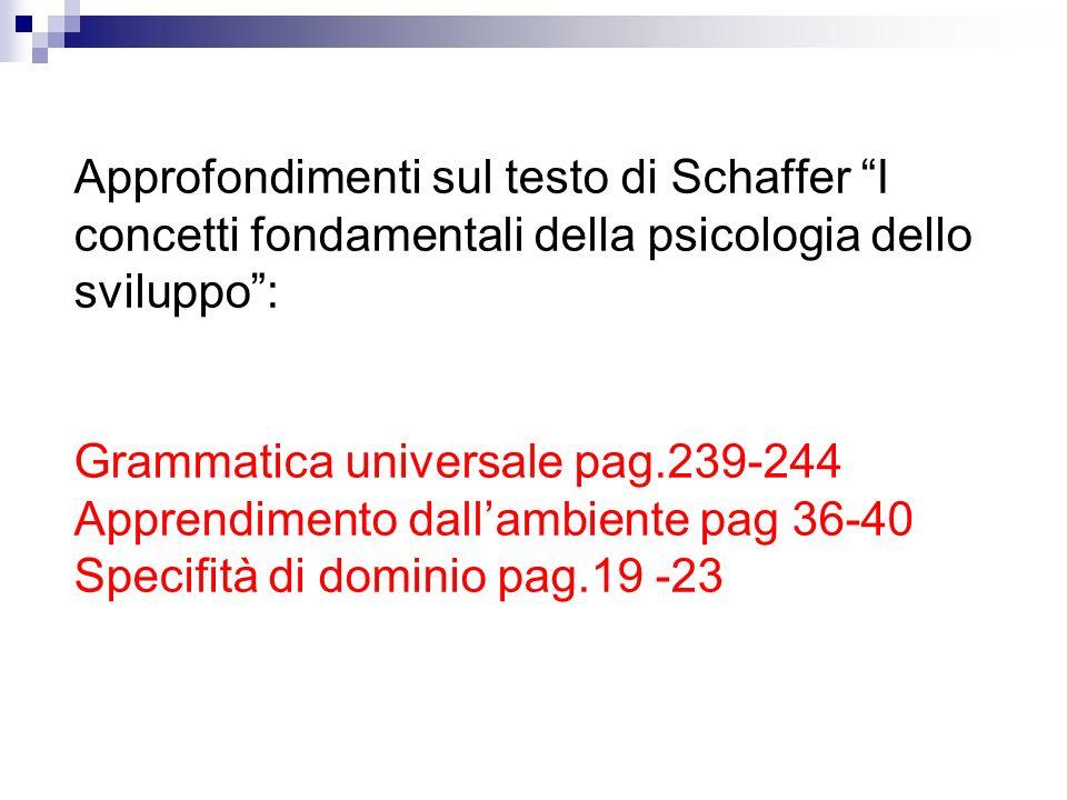 Approfondimenti sul testo di Schaffer I concetti fondamentali della psicologia dello sviluppo: Grammatica universale pag.239-244 Apprendimento dallamb